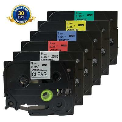 6PK P-touch Label Tapes Compatible for Brother TZe121-TZe721 Colorful Maker 9mm