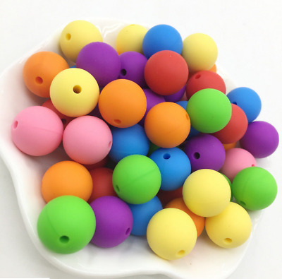 Safe Silicone Beads Loose Teething Beads DIY Baby Teether Necklace Making 9-12mm