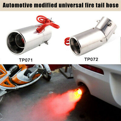 1Pc Spitfire Car LED Exhaust Pipe Red Light Flaming Muffler Tip Universal Custom