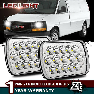7x6'' LED Headlights 45W Clear Sealed Hi/Low Beam For GMC Savana 1500 2500 3500
