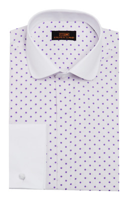 Dress Shirt Only Steven Land Trim/&Classic Fit French Round Cuff-Purple-TW735-PU