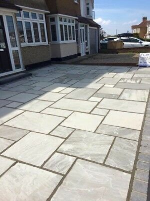 Kandla Grey 10.2m2 Indian sandstone paving slabs flags  OVER STOCK CLEARANCE ✔️