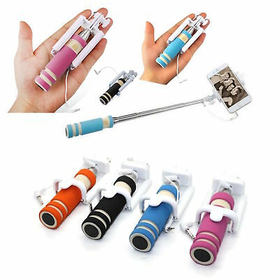 Mini Handheld Self Selfie Stick Wired Extendable Adjustable For iPhone Samsung