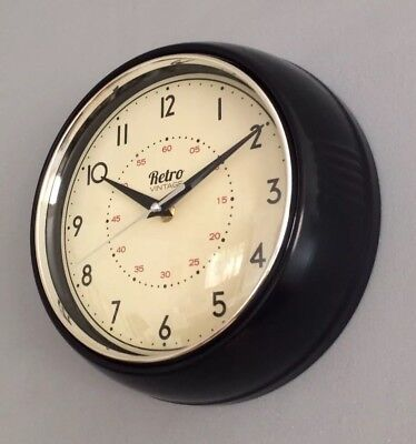 Retro Vintage Style Metal Kitchen Clock Dining Clock Wall Clock Black 23cm