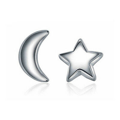 2 Pairs  Sterling Silver Moon and Star Dream Post Stud Earrings for Girls