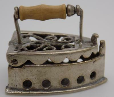 Vintage Solid Silver & Wood Italian Made Old Fabric Iron Miniature, Stamped*