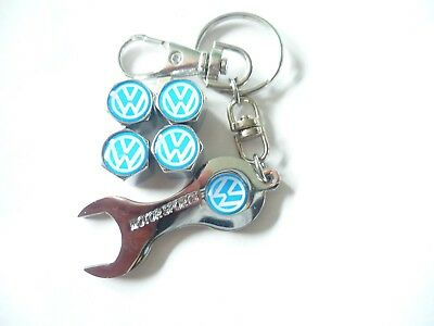 Volkswagon Blue/ Chrome Logo Tyre Dust Caps With Spanner Key Ring