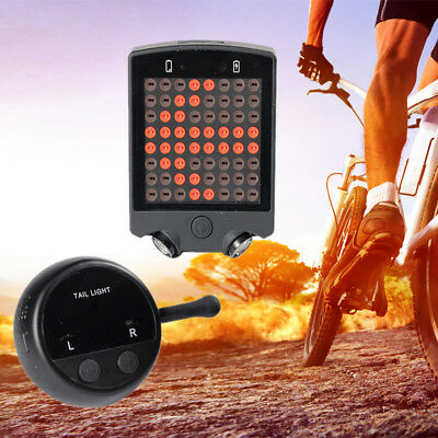 Wireless Remote Control Bike Bicycle Laser USB LED Tail Lamp Turn Signal Light