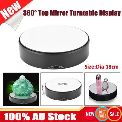 18cm 360° Rotating Rotary Top Mirror Glass Display Stand Turntable Battery Power