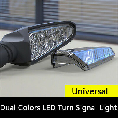 1 Pair Universal Motorcycle Modified Dual Colors Turn Signal Lights DRL Lamps