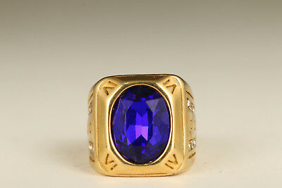chinese Copper plating 18K gold Inlay blue Gem hand carving Ring noble gift
