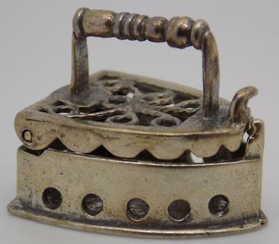 Vintage Solid Silver Italian Made Old Fabric Iron Miniature Box, Stamped