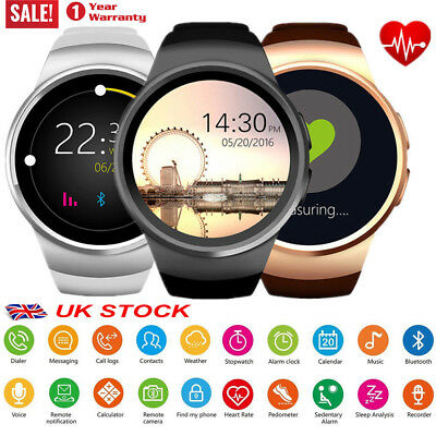 Touch Screen Bluetooth Heart Rate Smart Watch Wrist Waterproof Phone Android IOS
