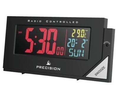 Radio Controlled Digital Alarm Clock Mains Battery Coloured Display Large Digit