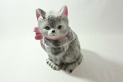 Large Vintage Ceramic Cat Cookie Jar Gray Tabby Kitten 13""