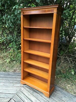 Vintage Yew wood tall bookcase