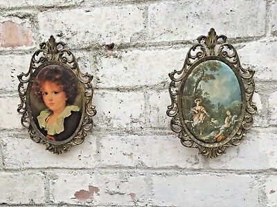 pair of vintage Italian brass filigree frames elaborate rococco gold french