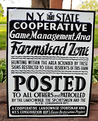 1920's New York State Conservation Department Game Sign