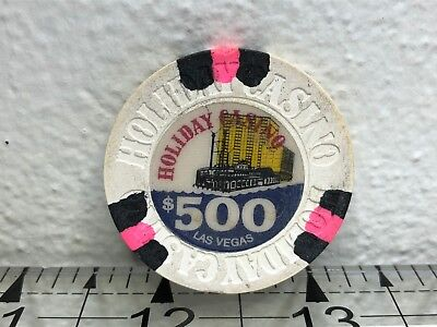 Rare Holiday $500 White, Pink & Black, Cancelled, House Las Vegas Casino Chip