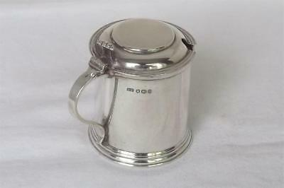 A Large Solid Sterling Silver Mustard Pot In Tankard Form & Liner Sheffield 1956
