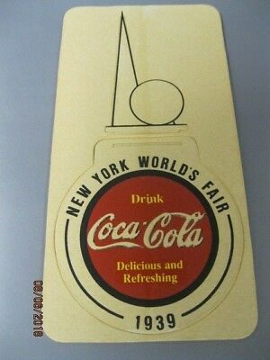 Original 1939 NEW YORK WORLD'S FAIR Cardboard Coaster COCA COLA Punch-out UNUSED