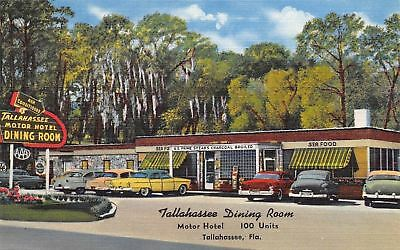 Tallahassee FL~Tallahassee Dining Room & Motor Hotel~Art Deco~1950 Cars~Linen PC