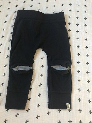12/18 Month, Cotton On Baby Navy Pants Cut Out Knees With Gray, Hipster, Trendy