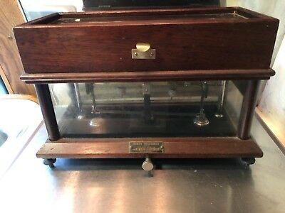 Henry Troemner Apothecary Precision Scale Flip Top Wood & Beveled Glass