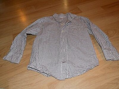 Boys Size 4 Gymboree Off White & Brown Checked Long Sleeve Button Up Dress Shirt