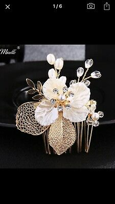 Wedding Bridesmaids Gold White Flowers Pearls Crystal  Vintage Style Hair Comb