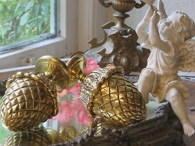 Splendid Pair Of Large Vintage French Heavy Sold Brass Finials ~ Period Projects