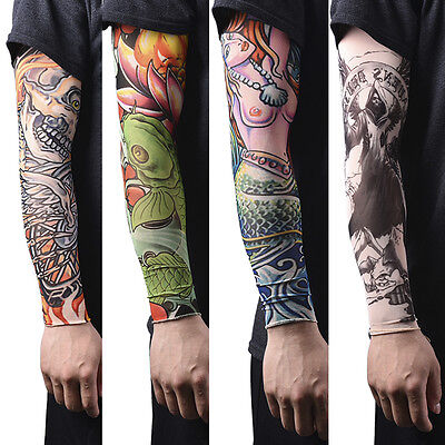 1/2pcs Nylon Fake Temporary Tattoo Sleeves  Tatoo Arm Stockings For Men QZZY