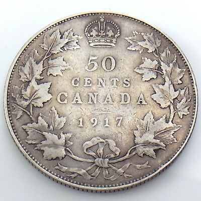 1917 Canada Fifty 50 Cent Half Dollar King George Canadian Circulated Coin G778