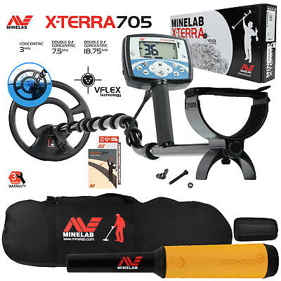 "Minelab X-Terra 705 Metal Detector with 9"" Search Coil, Pro Find 15, Carry Bag"
