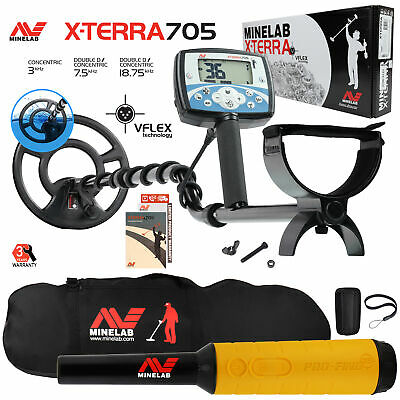 "Minelab X-Terra 705 Metal Detector with 9"" Search Coil, Pro Find 35, Carry Bag"