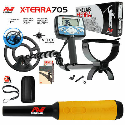 "Minelab X-Terra 705 Metal Detector with 9"" Search Coil, Pro Find 35 Pinpointer"