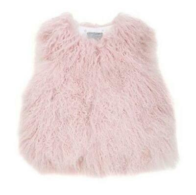 Yves Salomon Enfant Pink Shearling Gilet 4 Years