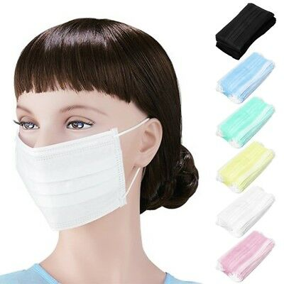 50Pcs 3-Ply Anti-Dust Disposable Surgical Medical Salon Earloop Face Mouth Masks