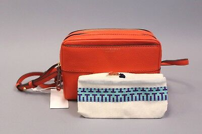 9b7866dba61 Tory Burch Block-T Pebbled Double-Zip Crossbody Purse GG8 Spicy Orange NWT   398