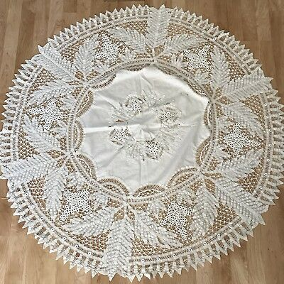 Antique Vtg Round Tablecloth Topper Tape Lace Chic Shabby White ImperfectC6