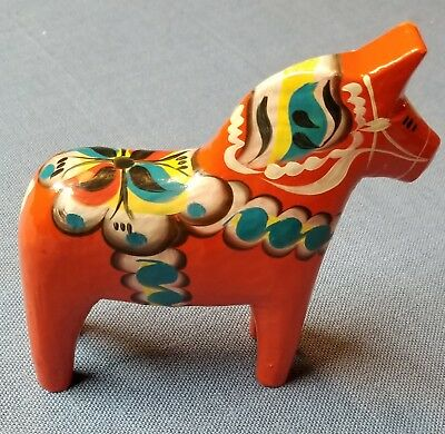 New Vintage Swedish Dala Horse Hand Painted & Carved Beautiful Blue Accent Trim