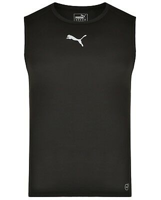 Men's New Puma Fitted Base Layer Vest Tank Top Sleeveless T-Shirt Singlet Black