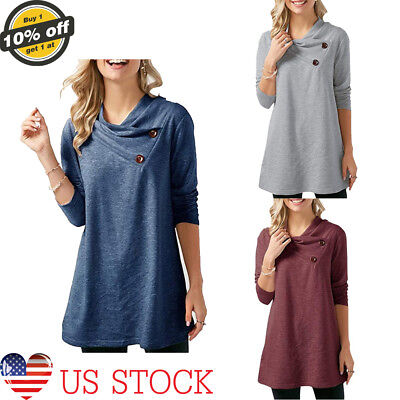 b425cfc2e57 Womens Long Sleeve Casual Blouse Crisscross V-neck Loose Tops Trench  Pullover US