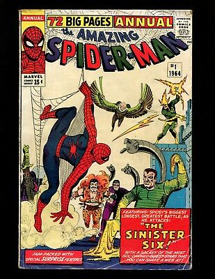 Amazing Spider-Man Annual #1 VG+ Ditko 1st Sinister Six Early X-Men Betty Brant