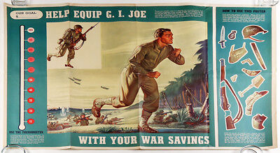 G.I Joe 1944 World War II American Home Front Unused Soldier Fundraising Poster