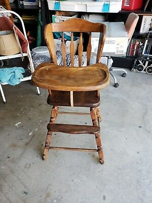 Vintage Jenny Lind STYLE Wooden High Chair Dark Brown