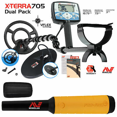 Minelab X-Terra 705 Dual Pack Metal Detector with Pro Find 15 Pinpointer