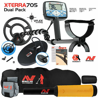Minelab X-Terra 705 Dual Pack Detector with Pro Find 15, Carry Bag, Finds Pouch