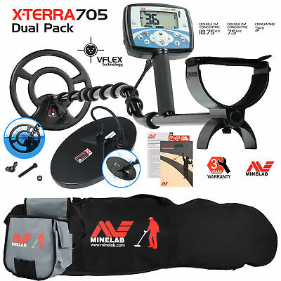 Minelab X-Terra 705 Dual Pack Metal Detector with Carry Bag & Finds Pouch