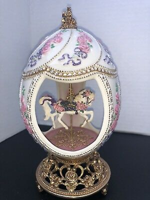 Franklin Mint TFM House of Faberge Egg Musical Carousel Horse Roses White Gold
